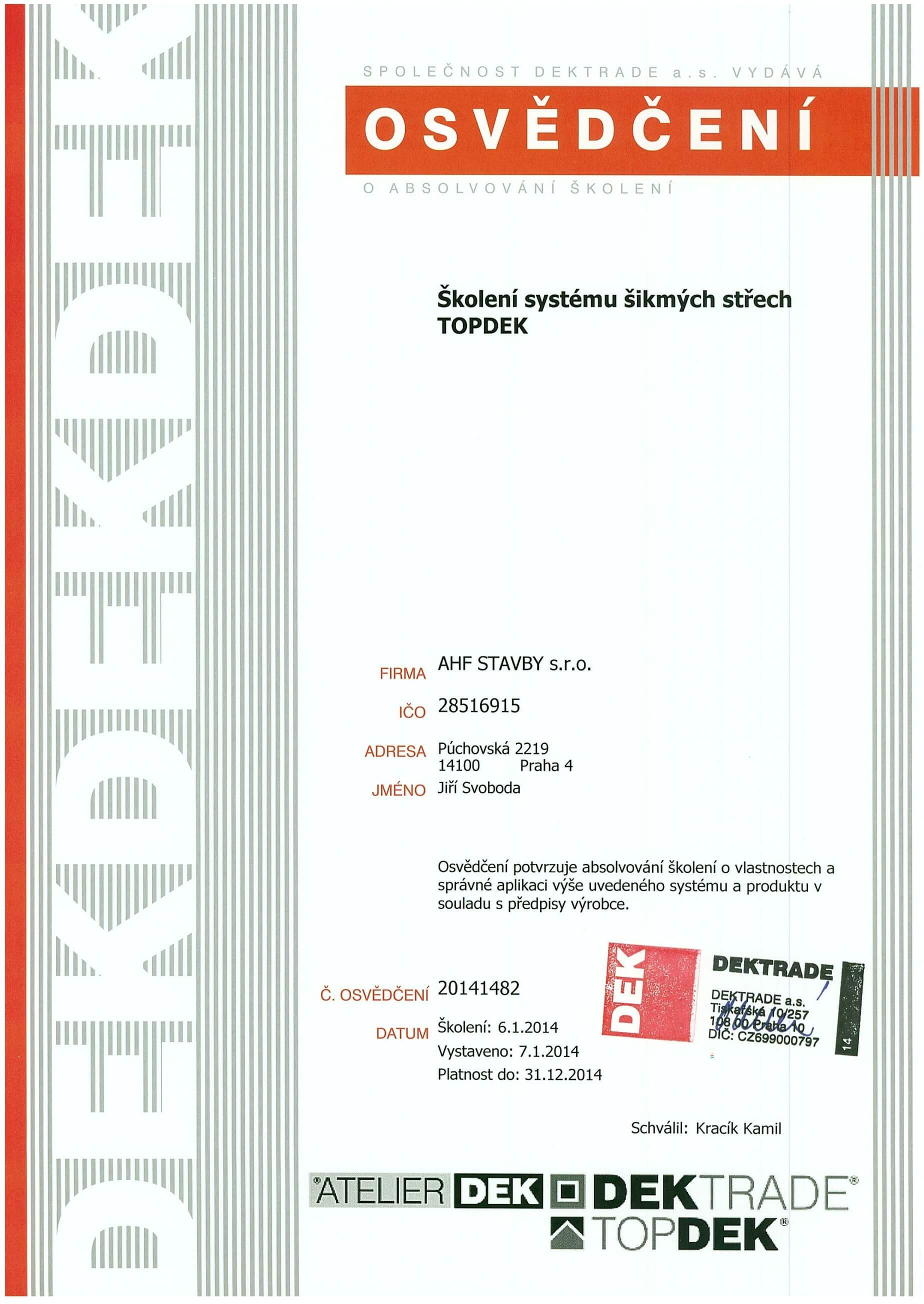 Certifikát Topdek